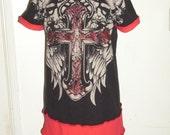 Upcycled Tshirt Dress Skulls Celtic Cross Dropped Shoulders Atonement Red Black