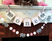 I am One Banner - elephant 1st birthday cake Smash photo prop - High Chair garland decor - first birthday garland - your color choices