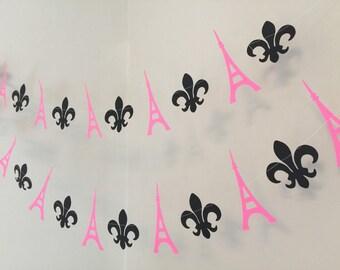 Paris BIRTHDAY Decorations - Paris themed Party Garland-  Eiffel Tower Paper Garland - Ooh La La Bridal Shower Decor - Your Color choices
