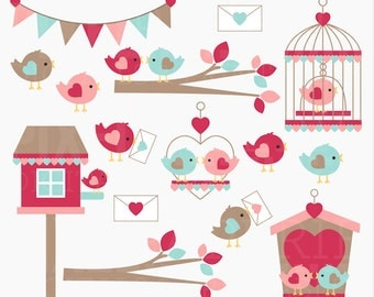 valentine clipart clip art birds love hearts - Love Birds Digital Clipart