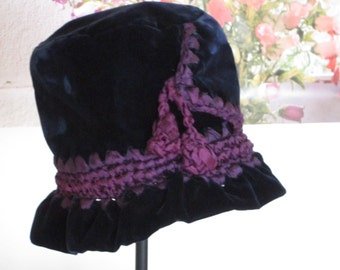 Blue Velvet Ladies Hat, Vintage Velvet Hat, Ribbonwork, Ruffle Brim Hat, Purple Ombre Ribbon, Handmade, Downton Abby meets Alice, Bohemian