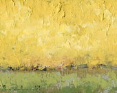 Yellow and Green and Spring — Original Oil Painting Landscape Painting by John W. Shanabrook, 5 x 7