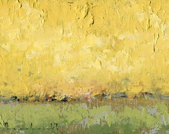 Original Oil Painting Landscape Painting Abstract Painting by John Shanabrook - 5 x 7 - Yellow and Green and Spring