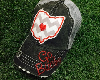 Ohio State University Buckeyes Baseball Bling Ladies Womens Trucker Hat
