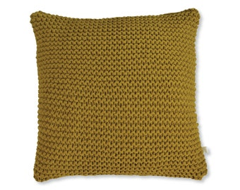 Chunky Knit Cushion | Hand Knit Wool Cushion Pillow Cover | MUSTARD | 45cm/18""
