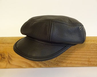 Borough, leather newsboy, apple cap, size medium, 22-5/8""