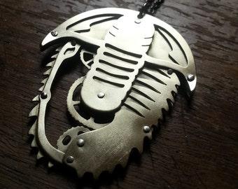 Steampunk Trilobite Pendant - Handcut brass
