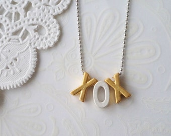 Silver and Gold XOX Necklace