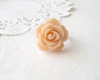 ON SALE  Large Peach Floral Ring