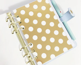 Personal Size Gold Foil Large Polka Dot Laminated Dashboard for Filofax Kate Spade Agenda Kikki-k Planner