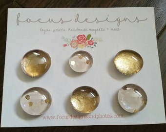Glass Magnets - set of 6_ Champagne