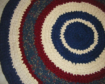 Navy Blue and Red Round Rug - for Etsy