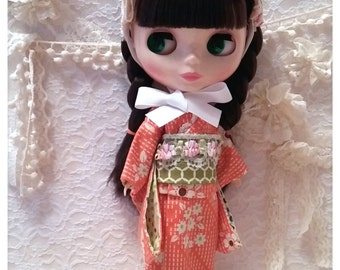 CottonCandyWorkshop Blythe dress,  Orange flower kimono