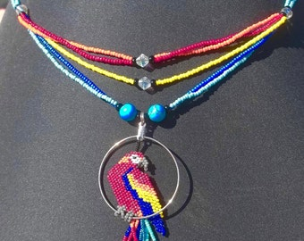 Red Macaw On A Swing Beaded Necklace OOAK