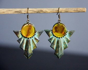 Patina Egyptian Earrings Art Deco Dangles Amber Resin Chips Verdigris Geometric Earrings Vintage Style Unique Jewelry - E301