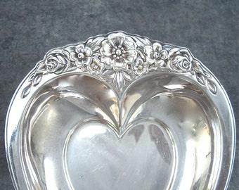 Vintage Silver Heart Bon Bon Candy Dish, Ornate Floral Silverplate, Repousse Flowers