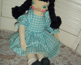 "vintage handmade cloth rag doll, folk art yarn pigtails, gingham dress embroidered face 22"" tall"