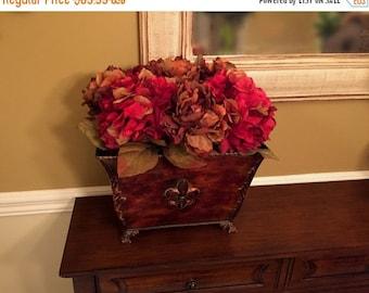 ON SALE 20% OFF Fleur De Lis Centerpiece Floral Arrangement Traditional Home Decor Silk Floral Arrangement Hydrangea Peony Floral Arrangemen