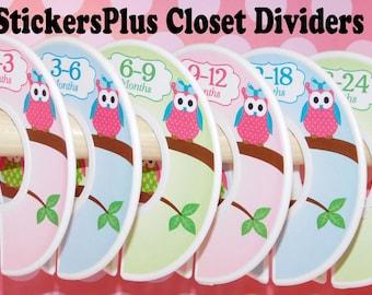 Custom Baby Closet Dividers Organizers Girl Owl Owls Pink Blue Green Dots Baby Shower Newborn Nursery Gift Clothes Organizer Size Dividers
