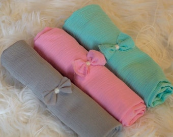 Newborn Headband/Gauze Wrap, CHOOSE Grey, Pink OR Turquoise Gauze Wrap with Coordinating Tie Back, Newborn Photography Prop, Layering Piece