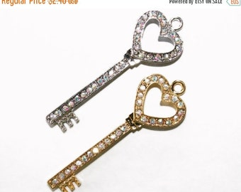 10% off NEW AB Crystals  Rhinestone Skeleton Key Pendant with Heart Top 15mmx 49mmJewelry Findings