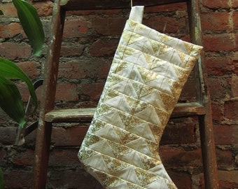 SALE - White and Gold Christmas Stocking - ooak