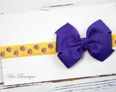 Purple and Gold Bow Headband - LSU Bow Headband - LSU Tigers Headband - Football Bow Headband