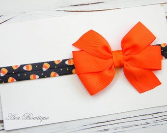 Halloween Bow Headband -  Halloween Headband - Baby Halloween Headband - Candy Corn Bow Headband - Baby Halloween Bow