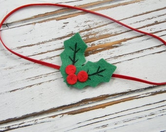 Baby Christmas Headband - Baby Holly Headband - Girls Christmas Headband -Christmas Headband