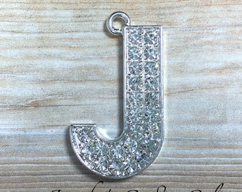 Initial Letter Rhinestone Pendant - 34mm Letter J Pendant - Alphabet Letters - Rhinestone Letters - Chunky Necklace Beads