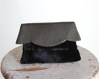 Black & Gold Velvet Envelope Clutch / Scalloped Purse