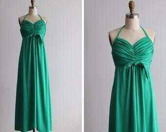 1970s Emeraude Halter Maxi Dress