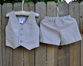 Ring bearer outfit, light grey shorts and vest, many colors, Beach Weddings, Photos, dedications...6m,12m,2t,3t,4t,5,6,7,8,10