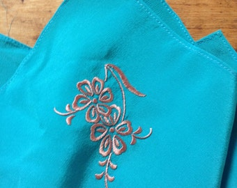 French 1950s Women Silk Handkerchief Pocket Square - Turquoise Blue & Floral Embroideries - MADE IN FRANCE - New