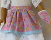 18 inch American Girl Clothes-Pink/Blue Apron with Oven Mitts d015