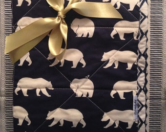 Ready to Ship! Whole Cloth Organic Baby Blanket styled in Birch/ Art Gallery supreme cotton fabrics