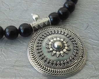 Obsidian and Sterling Silver Necklace