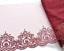 Wine Red Hearts Lace, Burgundy Lace Trim, Mantillas, Lingerie, Dolls, Hearts Fabric, Costumes