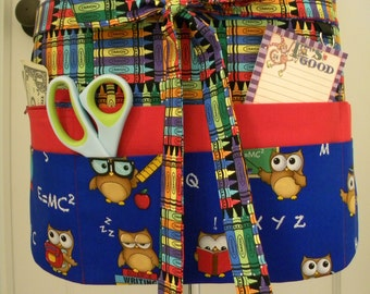 Teacher Apron-Crafter Vendor Utility Apron-Scholarly Owls
