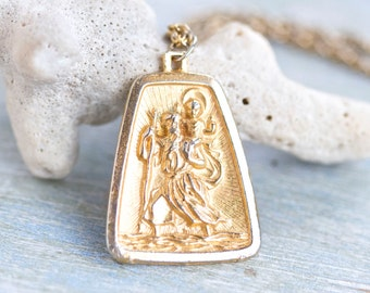 St Saint Christopher Necklace - Vintage Golden Medallion on Chain - Religious Icon