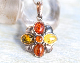 Amber Flower Necklace - Dark Sterling Silver Pendant on Chain