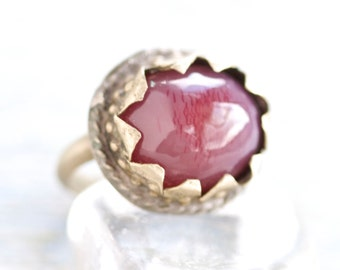 Purple Agate Ring - size 8 - Vintage Boho Hippie Index Finger Ring