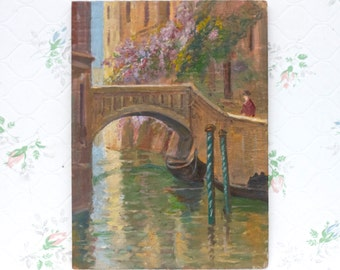 Via a Poerio Rome - Antique Small Painting on Wood  1944 - Wall Hanging Home Decor