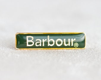 Barbour Badge - Greeb and Golden Lapel pin Brooch