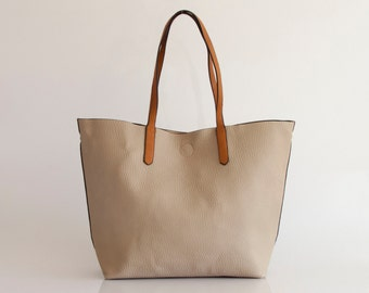 Leather Tote Bag Handbag in Vegan Leather Beige Handmade - the Hervè - 30% summer sale TRACBAG30OFF345