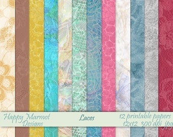 Digital Craft Papers Patterned Printable Photo Backgrounds Designer Recourses - 12 designs - 12x12 - 300 dpi - jpg - LACES