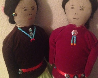 Navajo Pair Man and Women c 1970 Lovely!