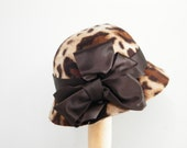 Elegant fur felt winter hat, Miss Fisher's Murder Mystery hat, animal print hat for women,  leopard velour hat