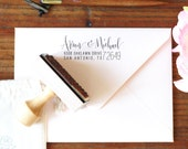 Modern Calligraphy Return Address Stamp -- Handwritten calligraphy and type - Rebel Stout Style large zip code wedding stamp