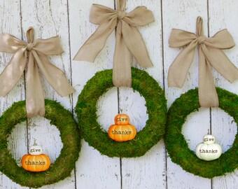 Fall Wreath - Autumn Wreath - Moss Pumpkin Wreath - Choose Bow - Petite Moss Wreath